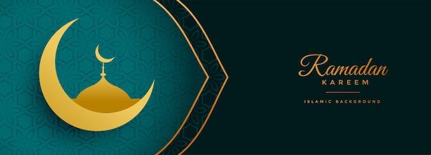 Insegna dorata di festival del kareem del ramadan della moschea e della luna