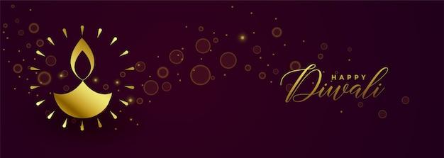 Insegna dorata di festival felice felice di diwali