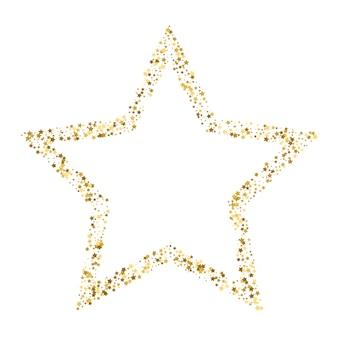 Insegna dorata di vettore della stella su fondo bianco. stella glitterata d'oro