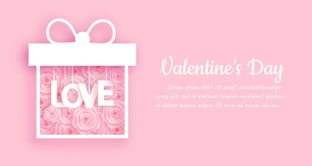 Insegna e fondo di san valentino con la scatola rosa nello stile del taglio della carta