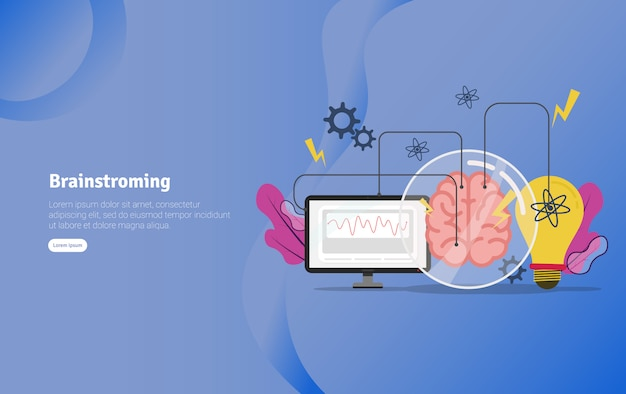Insegna educativa dell'illustrazione di concetto di brainstroming