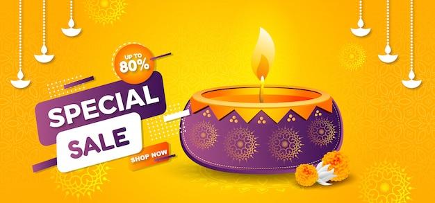 Insegna elegante di vendita di festival di diwali con giallo