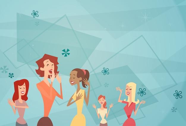 Insegna felice della donna del fumetto del gruppo della ragazza di dancing