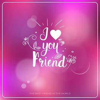 Insegna felice di festa degli amici della cartolina d'auguri di logo di giorno di amicizia