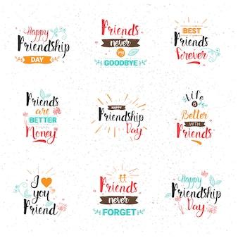 Insegna felice di festa degli amici della raccolta delle carte di auguri dell'insegna di logo di giorno felice di amicizia