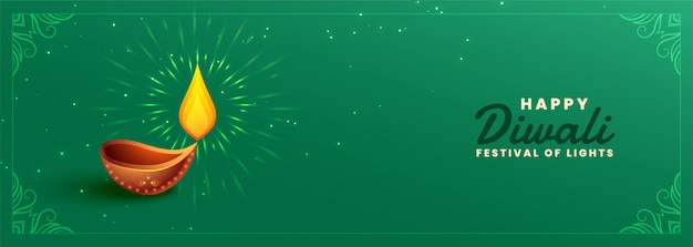Insegna felice di festival di verde di diwali con il diya