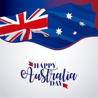 Insegna felice di giorno dell'australia su gray, illustrazione della bandiera
