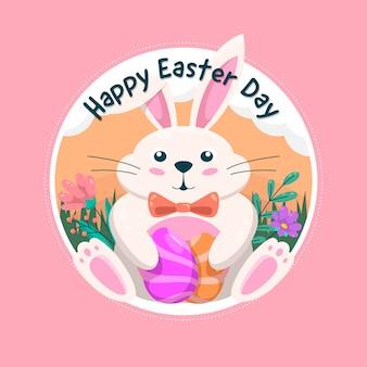 Insegna felice di giorno di pasqua con il coniglietto adorabile