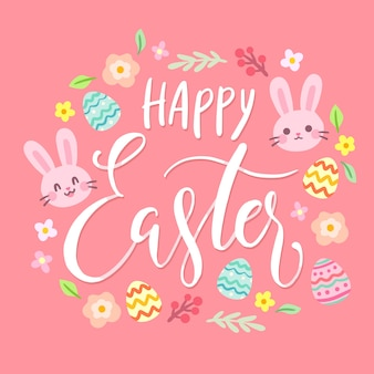 Insegna felice di giorno di pasqua con le uova e i coniglietti