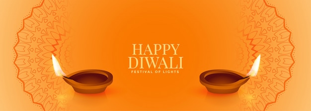 Insegna felice gialla elegante di diwali con due diya