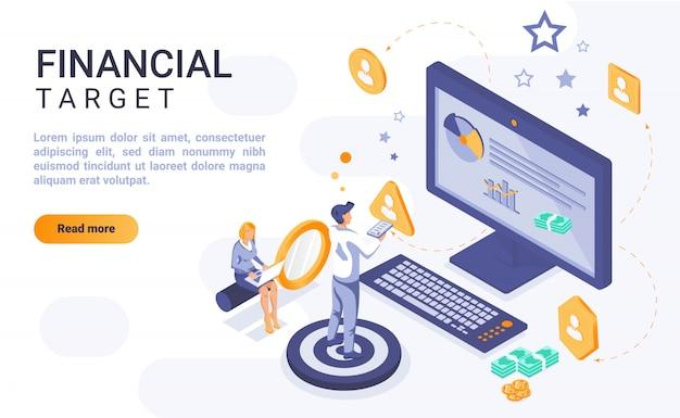 Insegna finanziaria della pagina di atterraggio dell'obiettivo con l'illustrazione isometrica