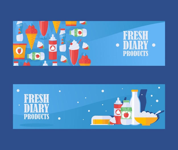 Insegna fresca dei prodotti lattier-caseario, illustrazione. icone di latte, yogurt, ricotta, panna montata e gelato. assortimento locale di alimentari di latticini