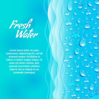 Insegna fresca pulita dell'acqua naturale