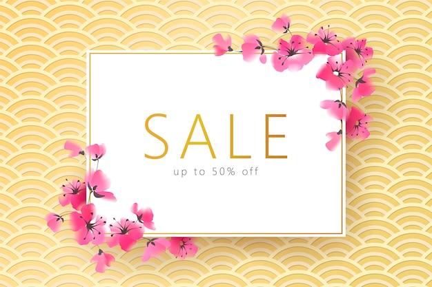 Insegna giapponese dorata del fiore di sakura stagionale della primavera,