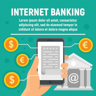 Insegna globale di concetto di attività bancarie di internet
