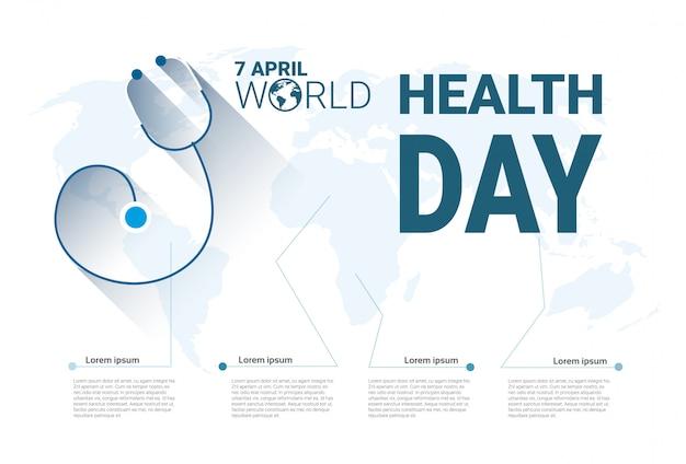 Insegna globale di festa di giorno del mondo di salute con lo spazio della copia