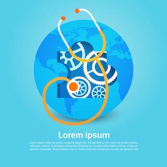 Insegna globale di festa di giorno del mondo di salute dello stetoscopio del pianeta della terra con lo spazio della copia
