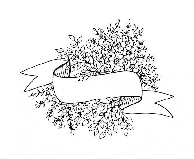 Insegna in bianco astratta del nastro con fondo floreale