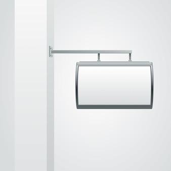 Insegna in bianco che appende sull'illustrazione della parete