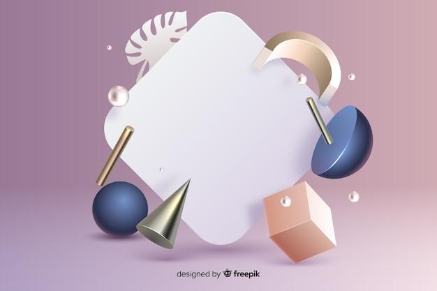 Insegna in bianco con effetto geometrico di forme 3d sulla superficie di rosa di pendenza