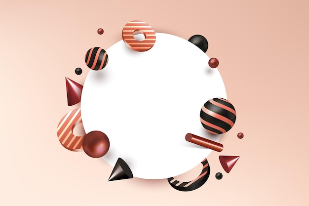 Insegna in bianco con le forme geometriche nell'effetto 3d