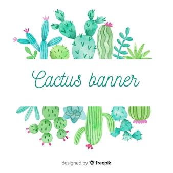 Insegna in bianco del cactus dell'acquerello