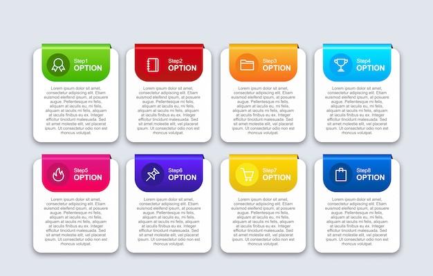 Insegna infographic 3d con il modello di progettazione di opzioni