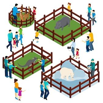 Insegna isometrica dei visitatori delle recinzioni all'aperto dello zoo