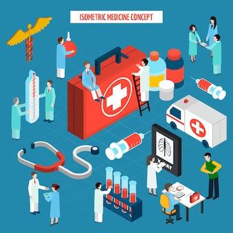 Insegna isometrica della composizione di concetto di sanità della medicina