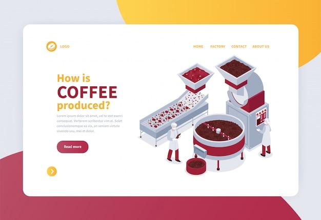 Insegna isometrica di concetto con il processo di produzione 3d del caffè