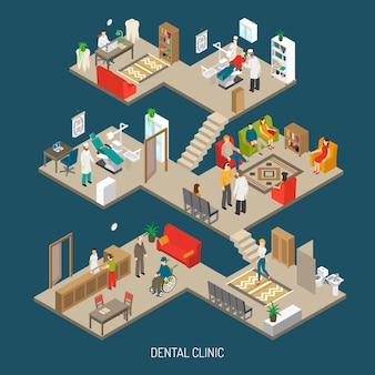 Insegna isometrica di concetto della clinica dentaria