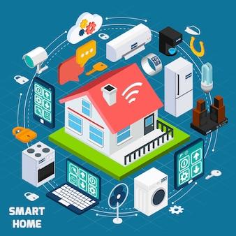 Insegna isometrica di concetto di smart home iot