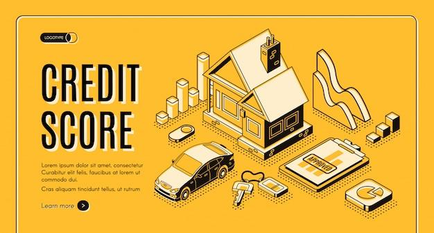 Insegna isometrica di web di promo di vettore di credito al consumo della banca