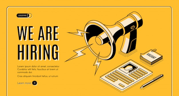 Insegna isometrica di web di vettore dell'agenzia assumente con il candidato di lavoro, pagina del riassunto del candidato di posto vacante