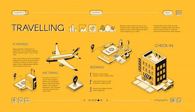 Insegna isometrica di web di vettore della società di viaggio