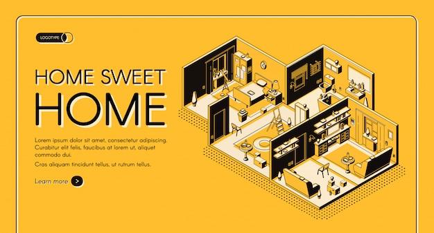 Insegna isometrica di web di vettore di configurazione di posto della dimora della società di costruzioni della casa.