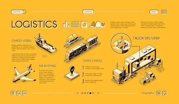 Insegna isometrica di web logistica di affari, modello della pagina di atterraggio del colpo con la consegna del camion
