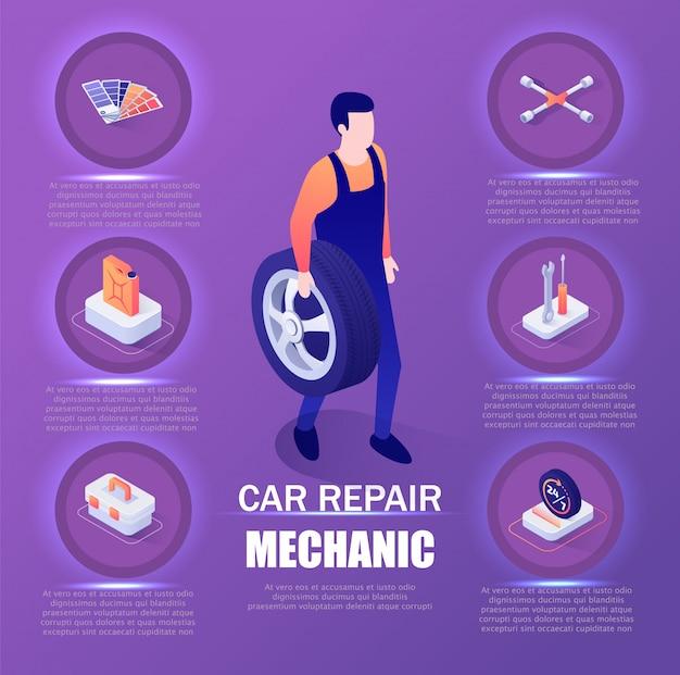 Insegna isometrica infografica di riparazione auto meccanico