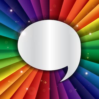 Insegna luminosa di festa di celebrazione dell'arcobaleno di vettore con l'icona del messaggio