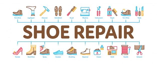Insegna minima di infographic dell'attrezzatura di riparazione della scarpa