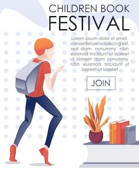 Insegna mobile dell'invito di festival del libro per bambini