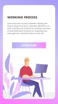 Insegna mobile di processo di lavoro del carattere delle free lance