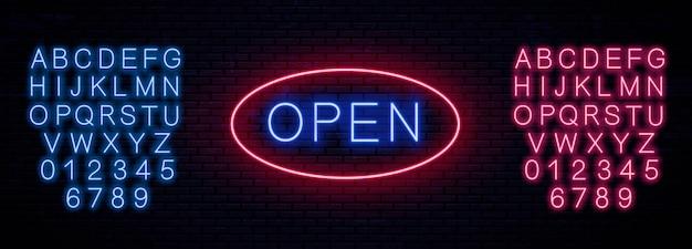 Insegna modello al neon aperta.