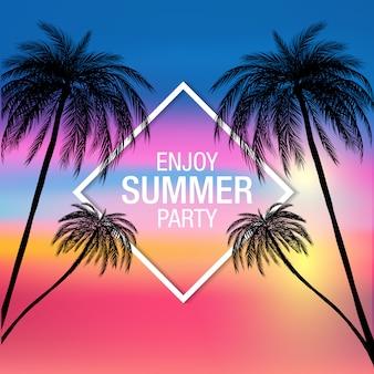 Insegna moderna del partito di estate della siluetta delle palme