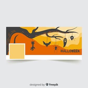 Insegna moderna di facebook con il concetto di halloween
