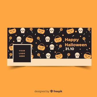 Insegna moderna di facebook con il disegno di halloween