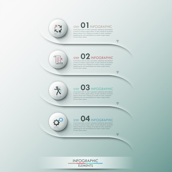 Insegna moderna di opzione infographic con i cerchi 3d