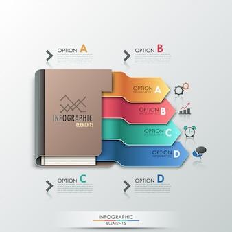 Insegna moderna di opzioni di infographic con il diario