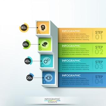 Insegna moderna di opzioni di infographics 3d con i blocchi