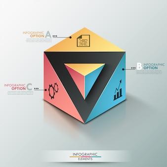 Insegna moderna di opzioni di infographics 3d con il cubo realistico